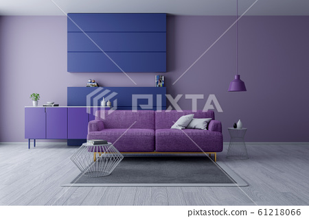 Modern and minamalist interior of living room ,Ultraviolet home decor concept, purple armchair on purple wall and white floor ,3d render 61218066
