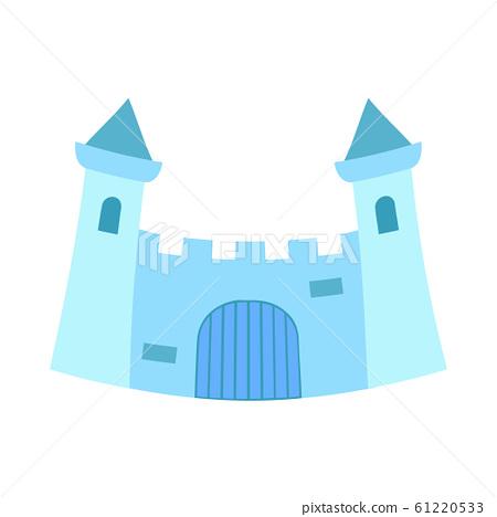 Cartoon blue fairytale castle gate 61220533