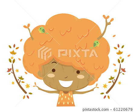 Kid Tree Season Autumn Illustration 61220679