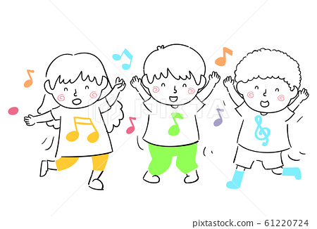 Kids Sing Dance Illustration 61220724