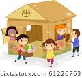 Stickman Kids Girls Cardboard House Play 61220763