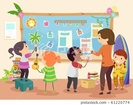 Stickman Kids Teacher Make Hawaiian Bulletin Board 61220774