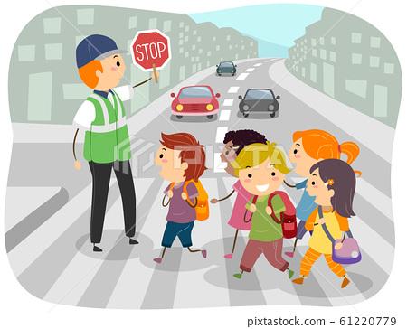 Stickman Kids School Crossing Guard Illustration 61220779