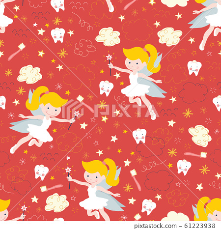 Tooth fairy seamless kids vector background. Cute fairies with wand, teeth, toothbrush, stars and 61223938