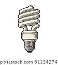 Energy saving spiral lamp. Vector vintage engraving on white background 61224274