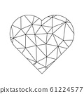 Low poly net heart. Symbol of love and St Valentines Day. Vector illustration 61224577