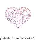 Low poly net heart. Symbol of love and St Valentines Day. Vector illustration 61224578