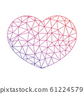 Low poly net heart. Symbol of love and St Valentines Day. Vector illustration 61224579