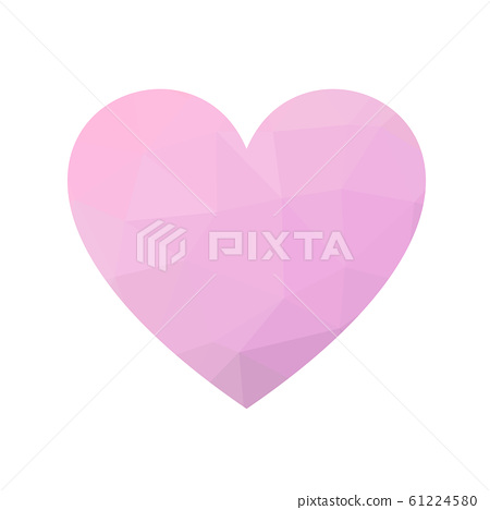 Pink low poly heart. Symbol of love and St Valentines Day. Vector illustration 61224580