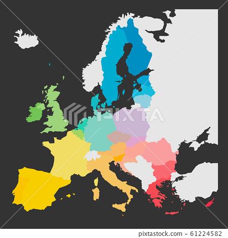 Colorful map of European Union, EU, member states 61224582