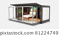3d Illustration of Container House. Reuse Container for bedroom. 61224749
