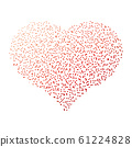 Red dotted heart. Valentine Day theme. Simple halftone gradient vector design 61224828