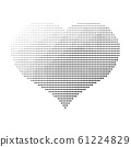 Black dotted heart. Valentine Day theme. Simple halftone gradient vector design 61224829