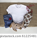 White tshirt mockup - shirt boots plaid scarf and 61225481