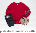 Red tshirt mockup with boots and jean. Pine cones 61225482