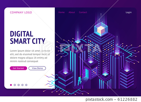 Digital smart city isometric landing page banner 61226882