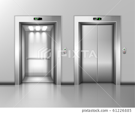 Lift doors, elevator close and open. hall interior 61226885