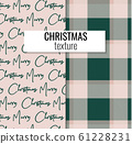 Merry christmas decoration set of plaid texture and typography background in pink green colors. Xmas 61228231