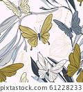 Geometric repetiotion butterfly pattern. Spring machaon and plants background. Seamless surface 61228233