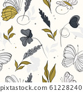 Geometric repetiotion butterfly pattern. Spring green blue machaon and plants background. Seamless 61228240