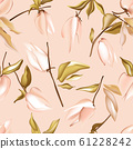 Seamless pastel peach vector Floral Pattern with foliage jungle elements. Tender pink soft simple 61228242
