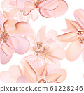 Wedding peony floral pastel realisitic pattern, soft orange leaf herbs on white background. Vintage 61228246