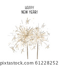 Bengal lights illustration. Vector hand-drawn golden lights, New Year card, Christmas decoration 61228252