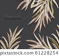 Greenery greeting palm invitation card template design, foliage leaves hand drawn doodle graphics on 61228254