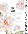 Wedding 3d ornament concept. Floral peony poster, invite. Vector decorative greeting card or 61228256