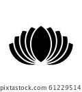 Lotus plant symbol. Spa and wellness theme design element. Flat black vector illustration 61229514