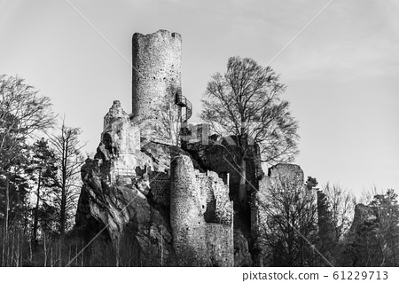Frydstejn Castle. Medieval ruins with stone tower. Bohemian Pradise, Czech: Cesky raj, Czech Republic 61229713
