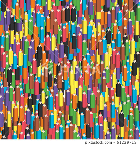 Colorful seamless background of pencils. Sharpened crayons. Vector illustration 61229715