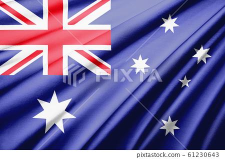 Australian flag, bird's-eye view symbol | Silk, silk textured flag realistic illustration 61230643
