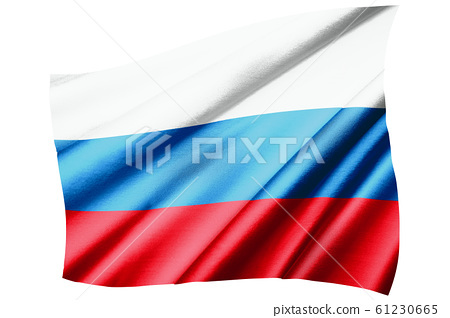The fluttering flag of the Russian Federation and the oblique bird's-eye view symbol   A realistic illustration of the flag of silk and silk texture 61230665