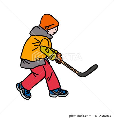 冰上曲棍球和兒童(橙色) 61230803
