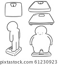 vector set of people on weighing machine 61230923
