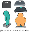 vector set of people on weighing machine 61230924