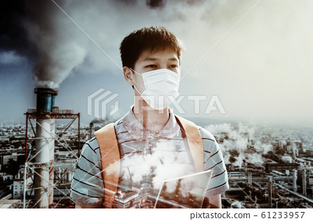 teenagers student  wearing mask against smog  and  61233957