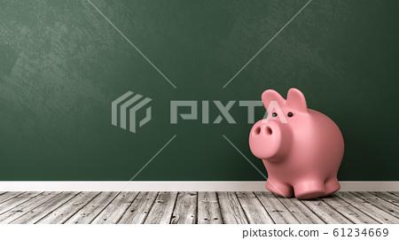 Piggy Bank on Wooden Floor 61234669