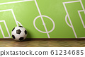 Soccer Ball Against Green Wall with Soccer Field 61234685