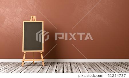 Empty Blackboard on Wooden Floor 61234727