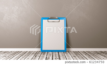 Blue Clipboard with Blank Paper Against Wall 61234750