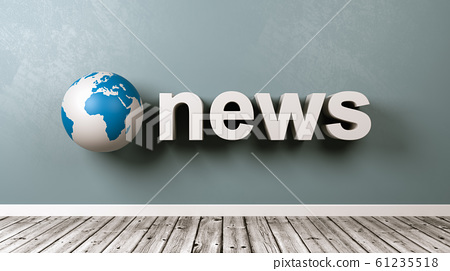 News Text and Earth Globe Against Wall 61235518