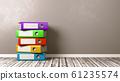 Heap of Binders on Wooden Floor 61235574