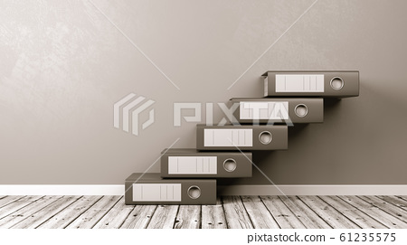 Binders Aligned as a Staircase on Wooden Floor 61235575