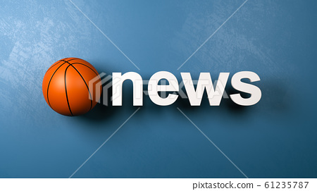 Basketball and News Text Against Wall 61235787