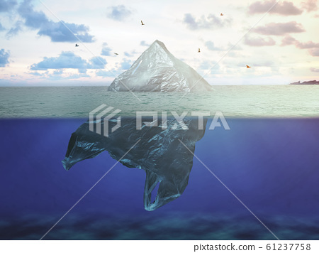Plastic bag floating in ocean, environment pollution. global warming concept 61237758
