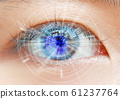 Close up women eye scanning technology in the 61237764