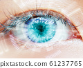 Close up women eye scanning technology in the 61237765