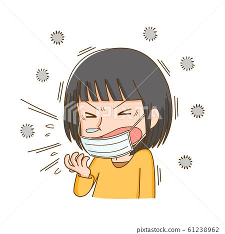 House dust, sneezing, allergies, dust, women 61238962
